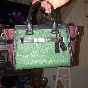 Coach Swagger small brown and green tote purse